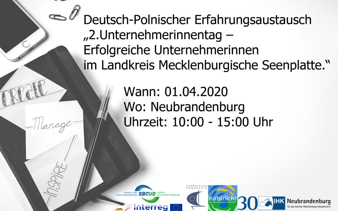"""ABGESAGT! Deutsch-Polnischer Erfahrungsaustausch """"2.Unternehmerinnentag – Erfolgreiche Unternehmerinnen im Landkreis Mecklenburgische Seenplatte"""""""