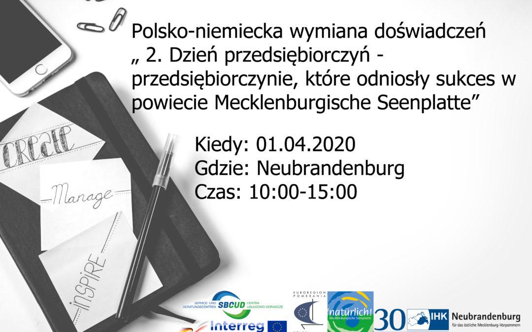 """ODWOŁANE! Polsko-niemiecka wymiana doświadczeń """"2. dzień przedsiębiorczyń –  przedsiębiorczynie, które odniosły sukces wpowiecie Pojezierze Meklemburskie"""""""