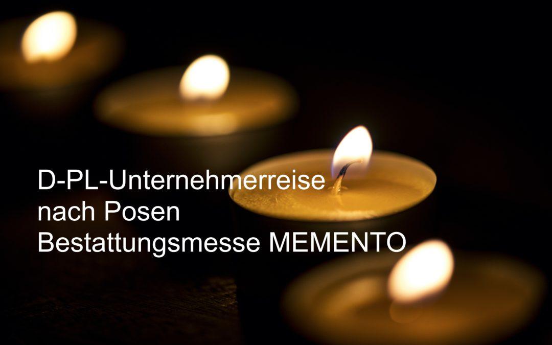 Verschoben 2021 / kostenlose Unternehmerreise nach Posen: Bestattungsmesse MEMENTO